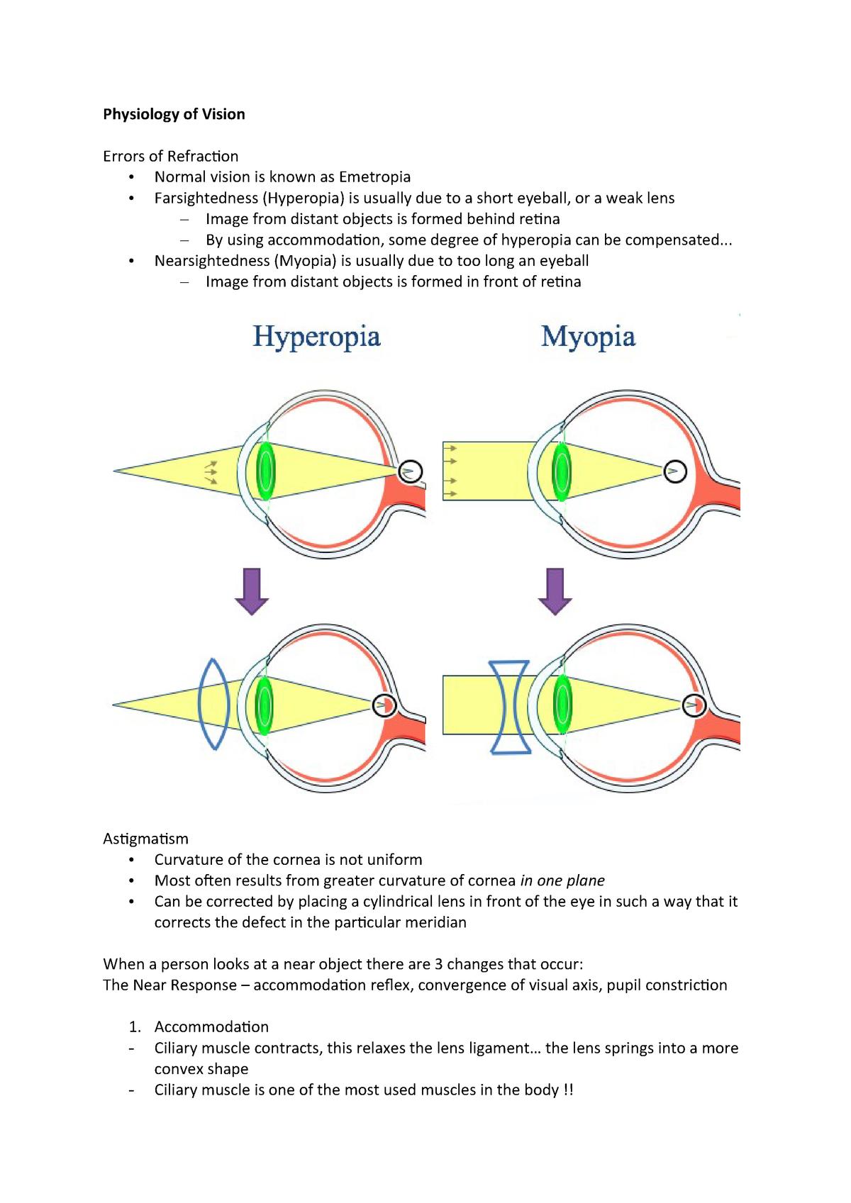 Physiology of Vision - Medicine MED-MB-S - QUB - StuDocu