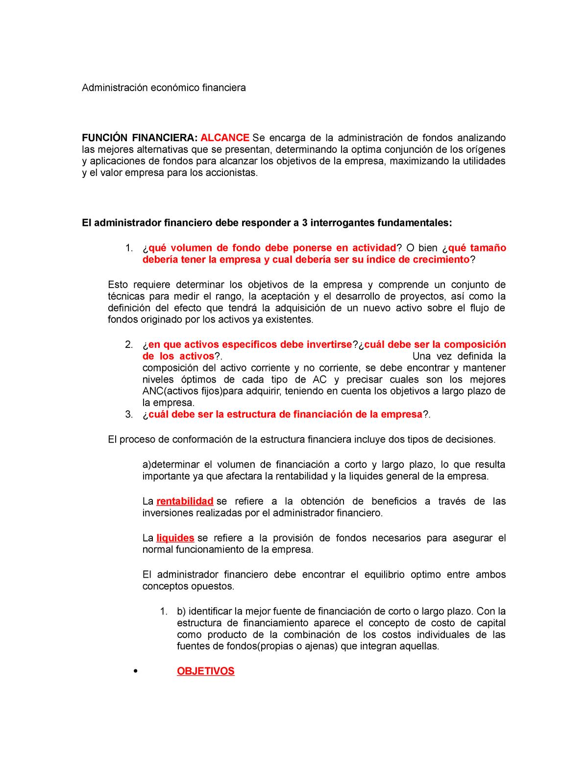 Administración Económico Financiera 20058 Unlu Studocu