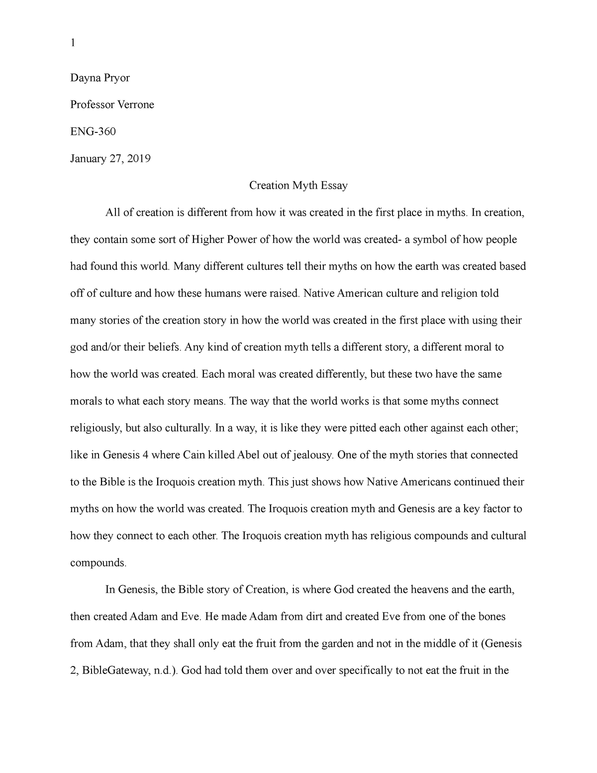 creation myth essay   grade a   eng  american encounter