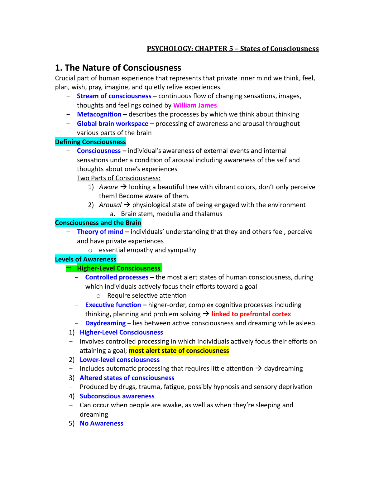 Chapter 5 Notes - States of Consciousness - PSY 1113: Elements Of