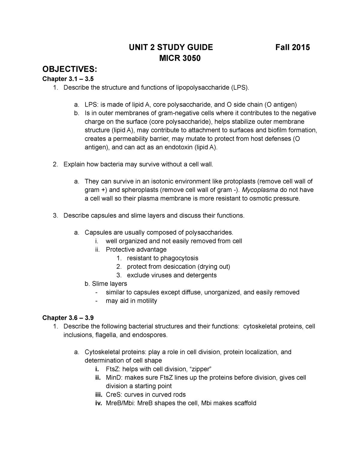 Copy of Unit 2 Study Guide - General Micro MICRO 305 - StuDocu