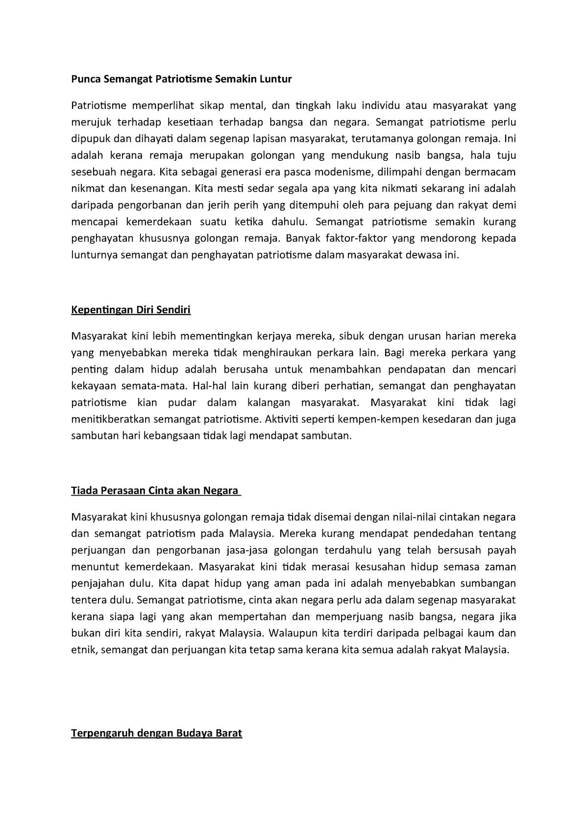 Punca Semangat Patriotisme Semakin Luntur Mgt 506 Studocu