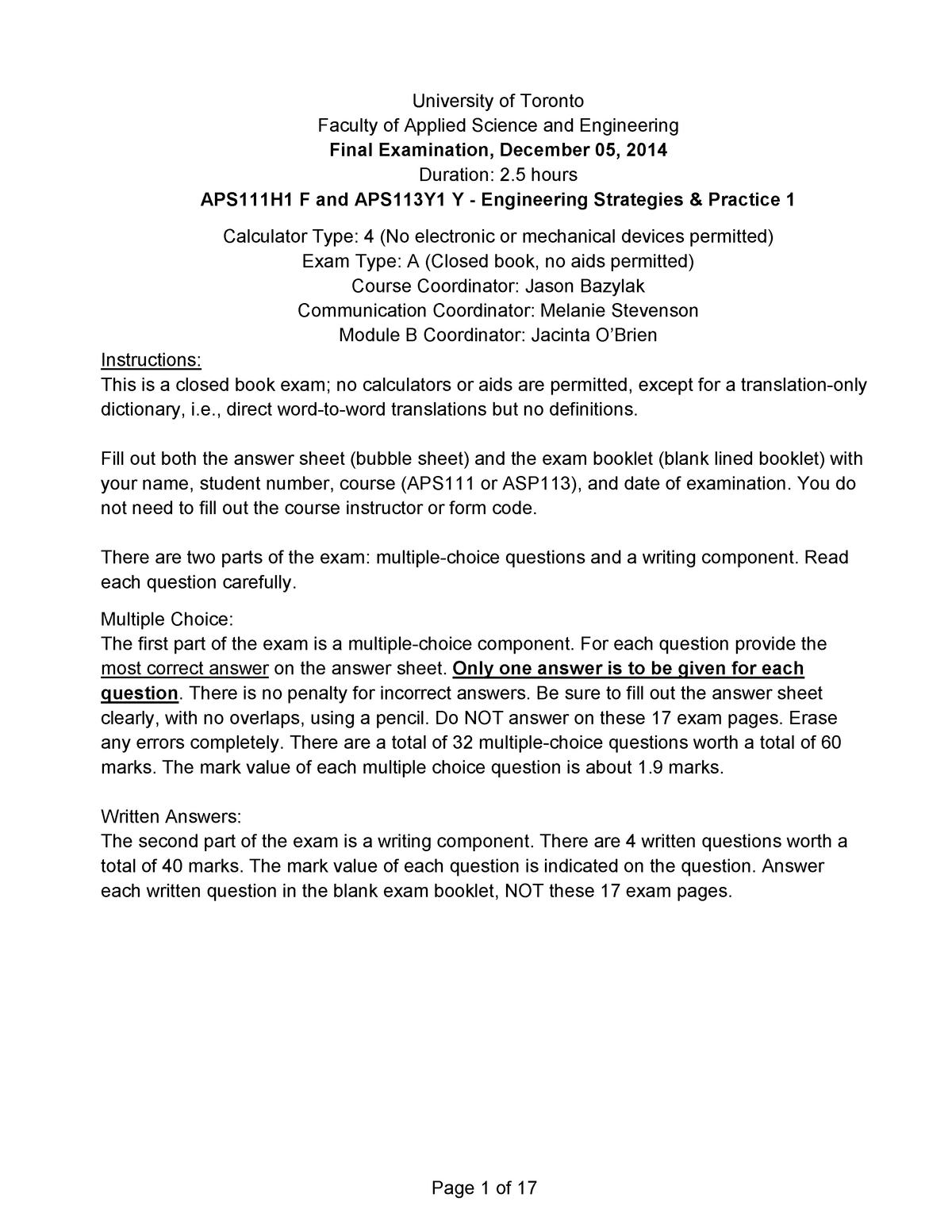 Exam 2014 - APS111H1: Engineering Strategies and Practice I