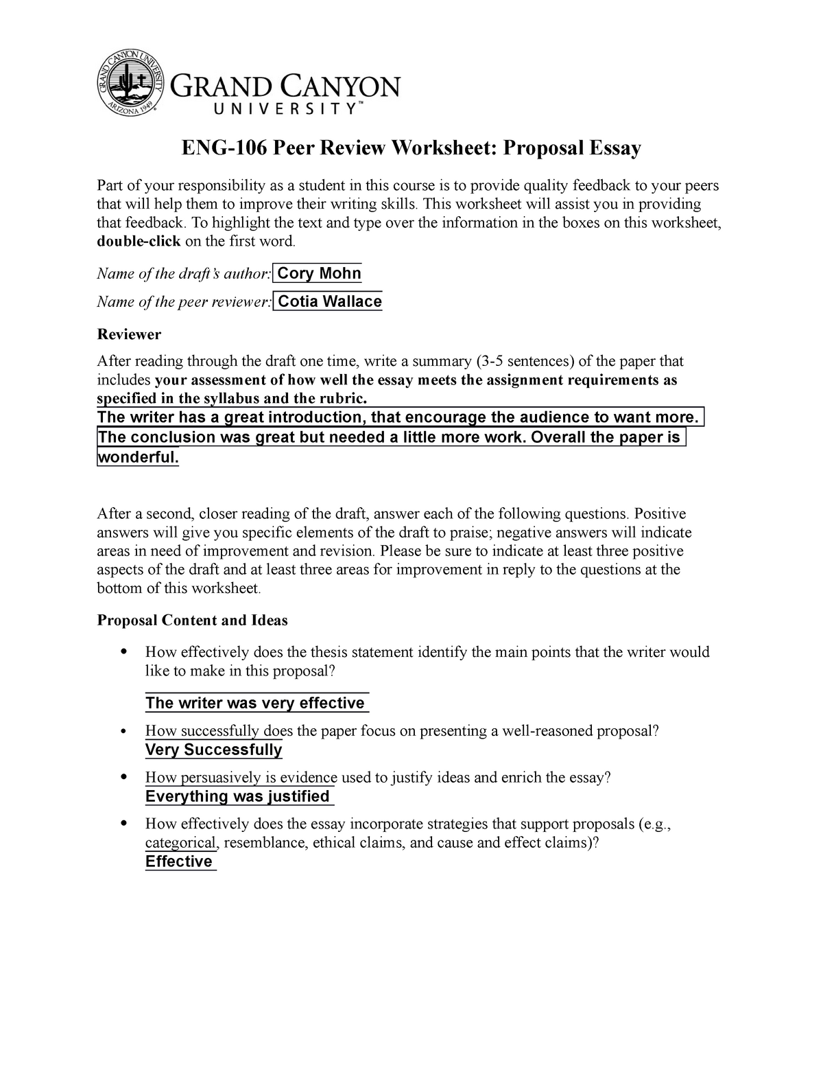 ENG106 Proposal Peer Review Worksheet - ENG-106: English Composition