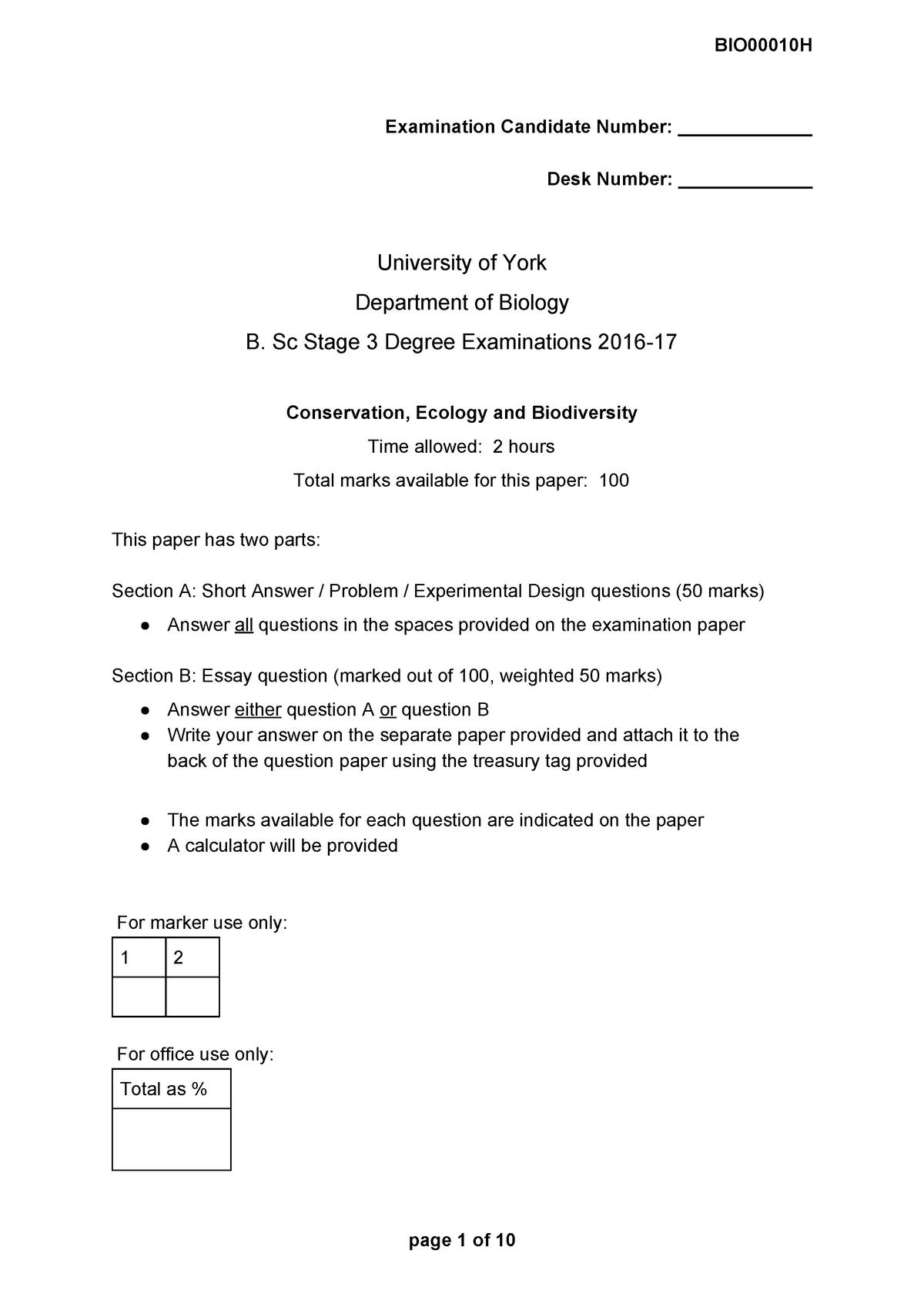 Exam 2017 - BIO00010H: Conservation, Ecology & Biodiversity - StuDocu