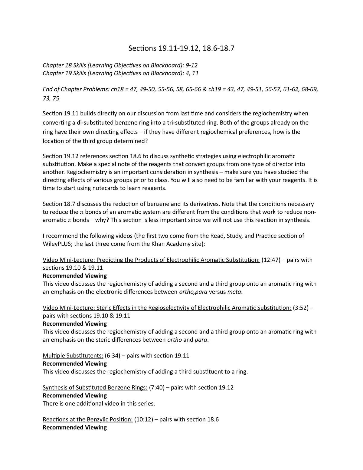 Reading Guide 19-11 19-12 18-6 18-7 - CHEM 351 : Organic