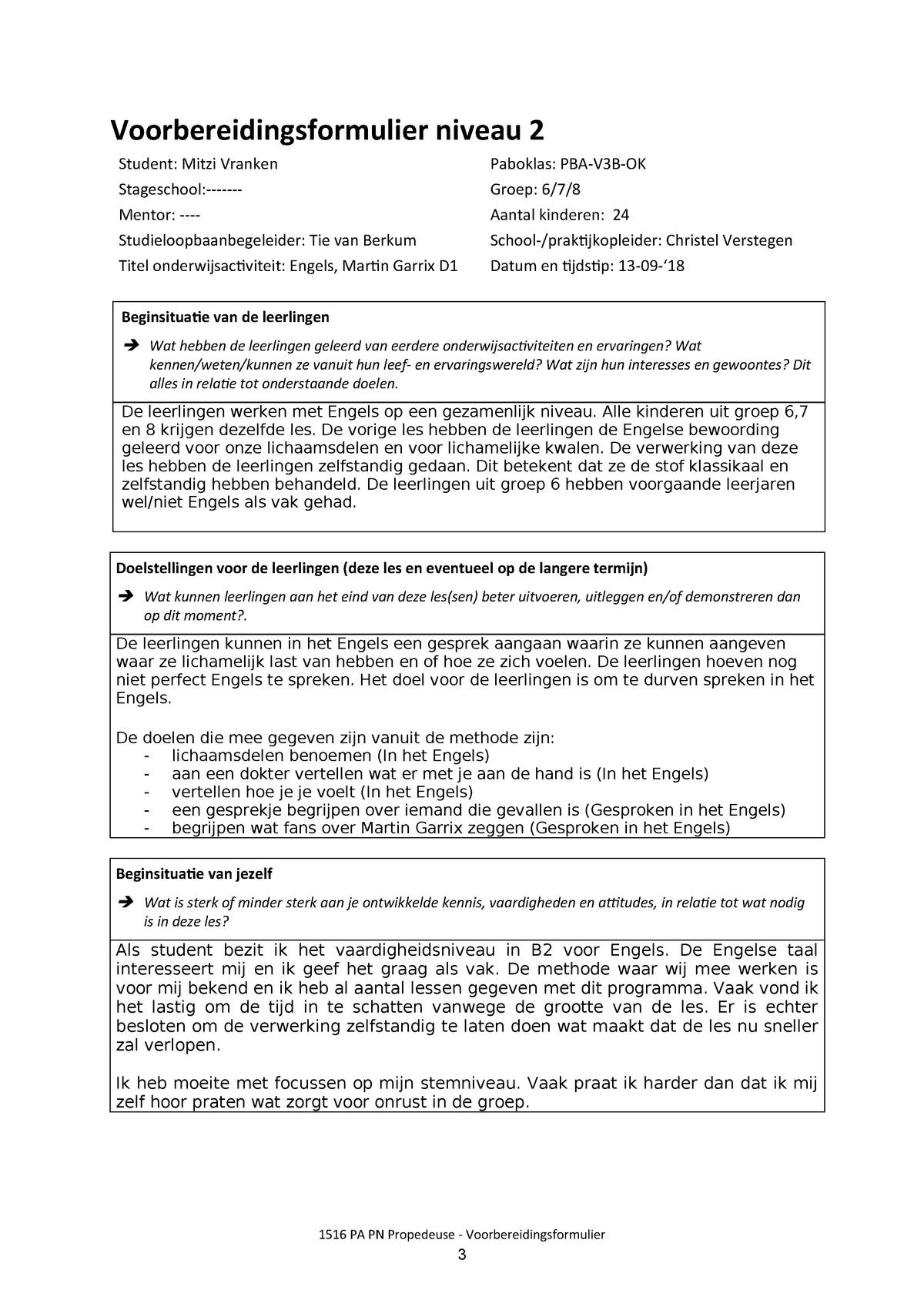 Fonkelnieuw Lesvoorbereidingsformulier Engels 13-09 - APA-ENG1A - StudeerSnel RT-24