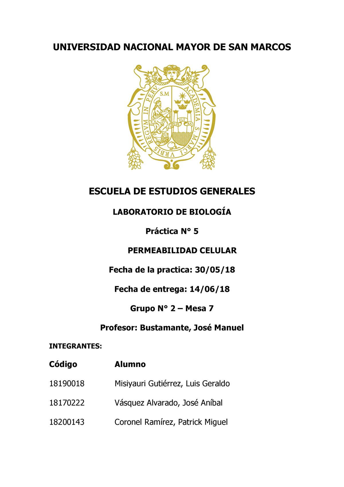 Informe Final 5 De Laboratorio De Biologia Permeabilidad