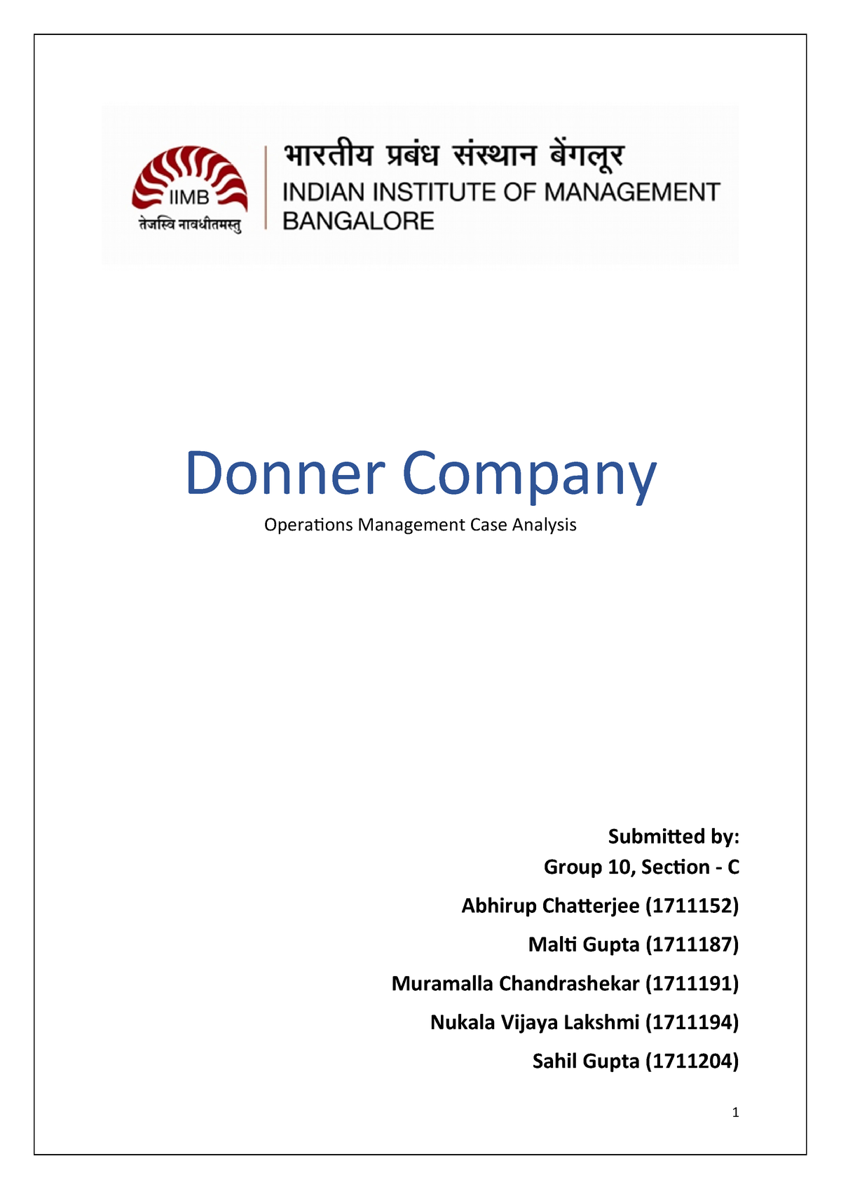 Donner company case study solution