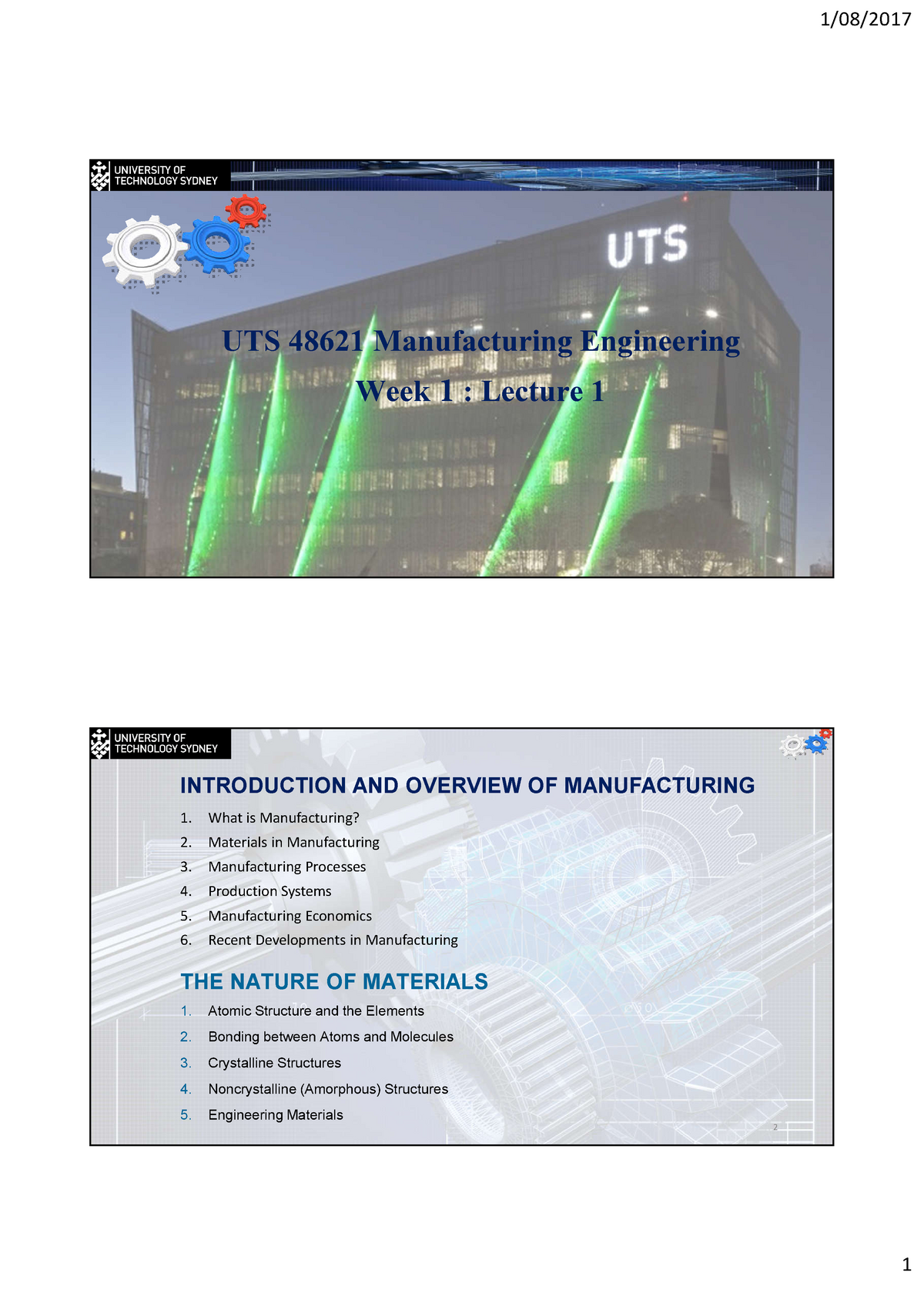 UTS 48621 Manufacturing Engineering- Lecture notes 1 A2018
