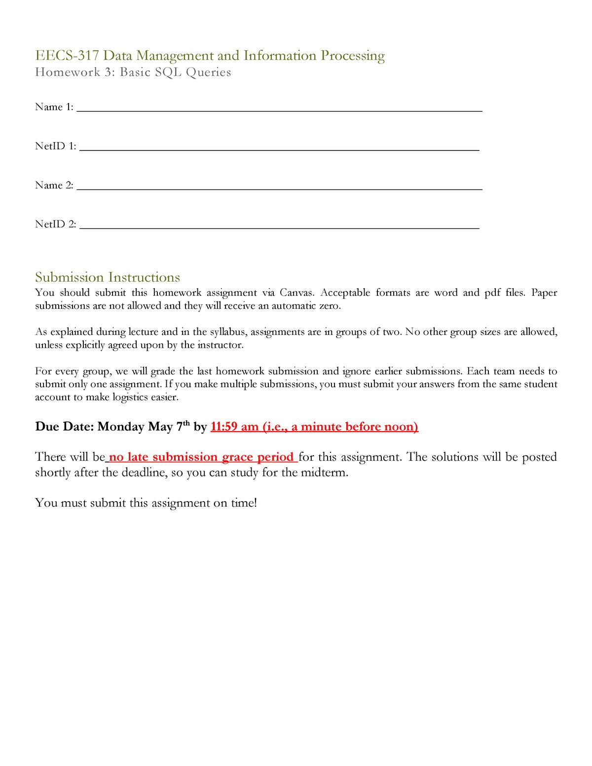 EECS-317 Homework 3 - Solutions - EECS 317: Data Management