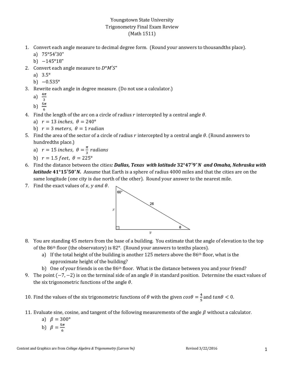 Math 1511 Final exam review S17 - 1511: Trignometry - StuDocu