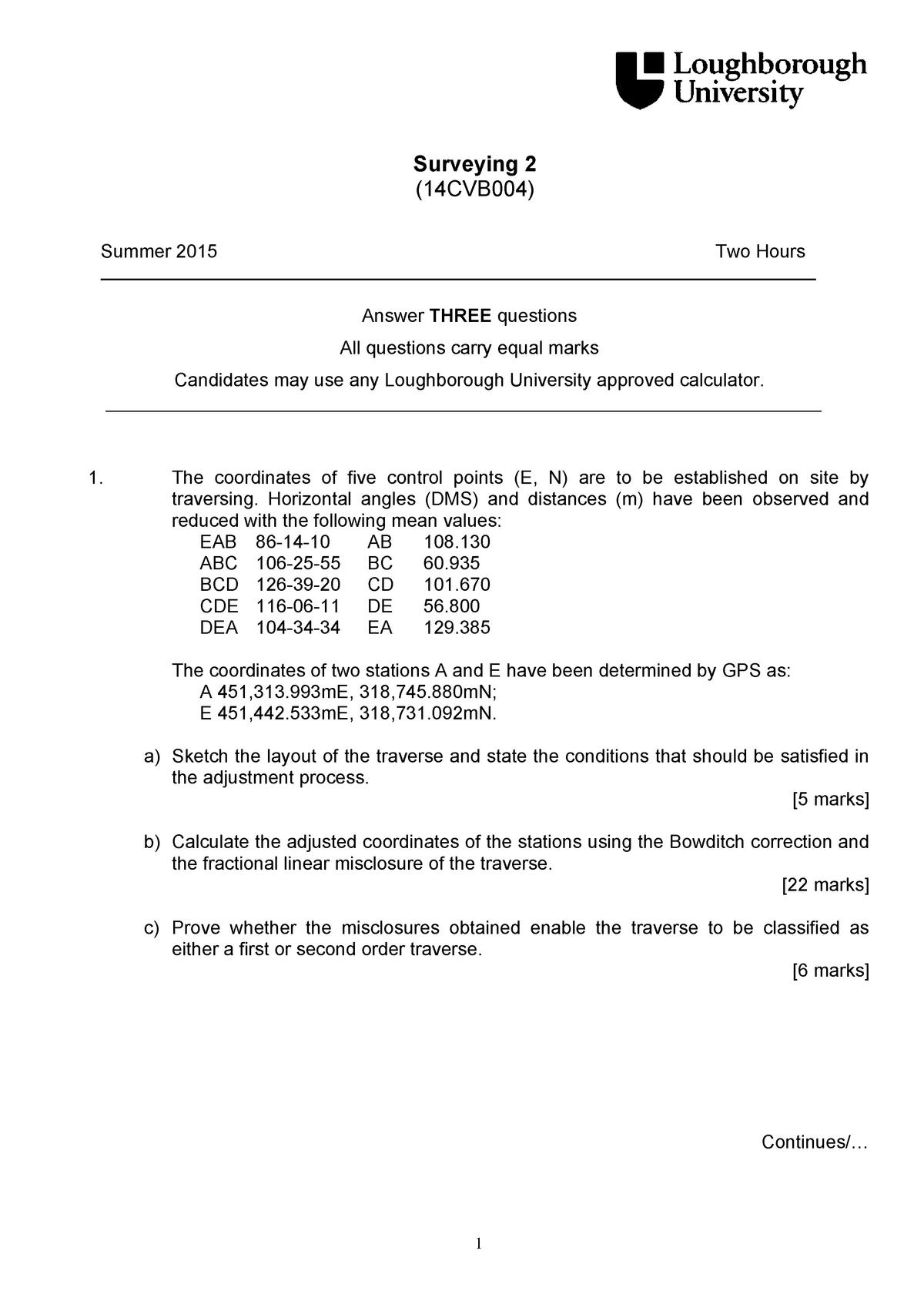 Exam 2015 - 17CVB004: Surveying 2 - StuDocu