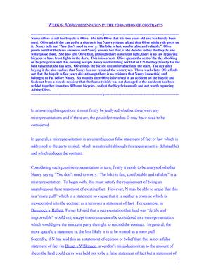 Misrepresentation  Problem Answer  Contract Law  Studocu
