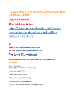 Theories Of Personality Schultz 10th Edition Pdf