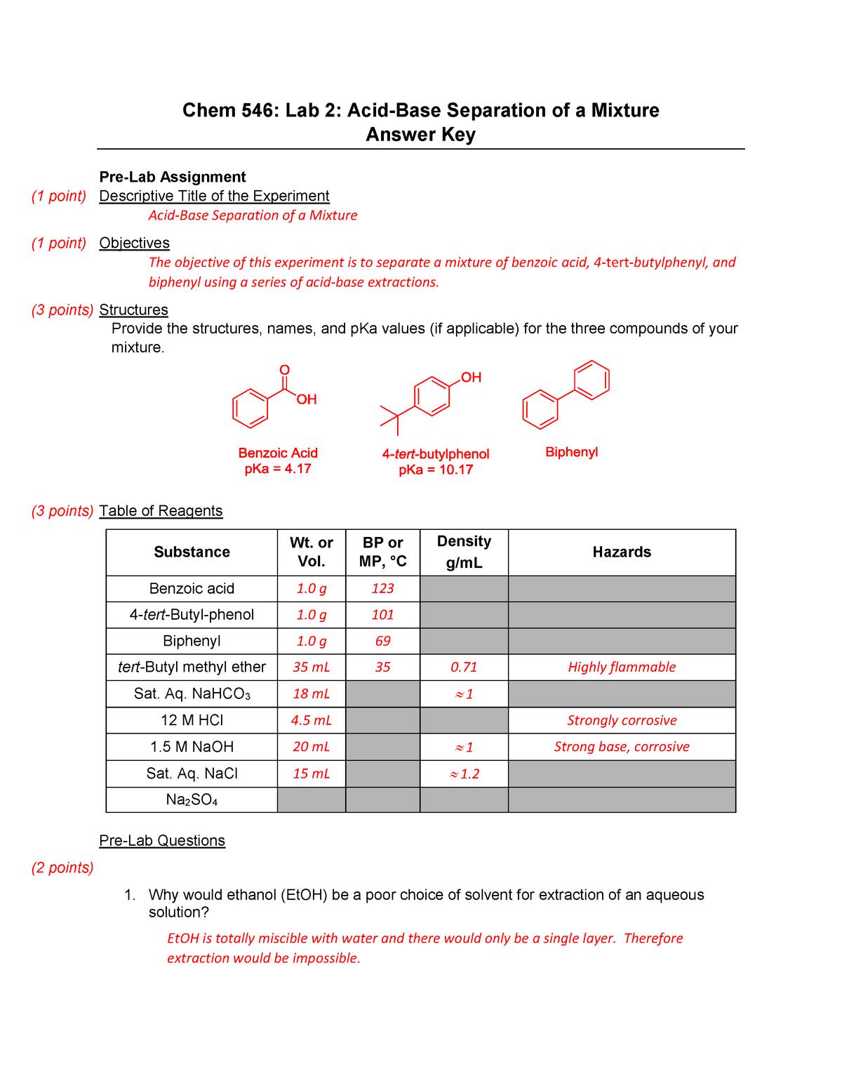 Acid Base Extraction Key - CHEM 545 Organic Chemistry - UNH