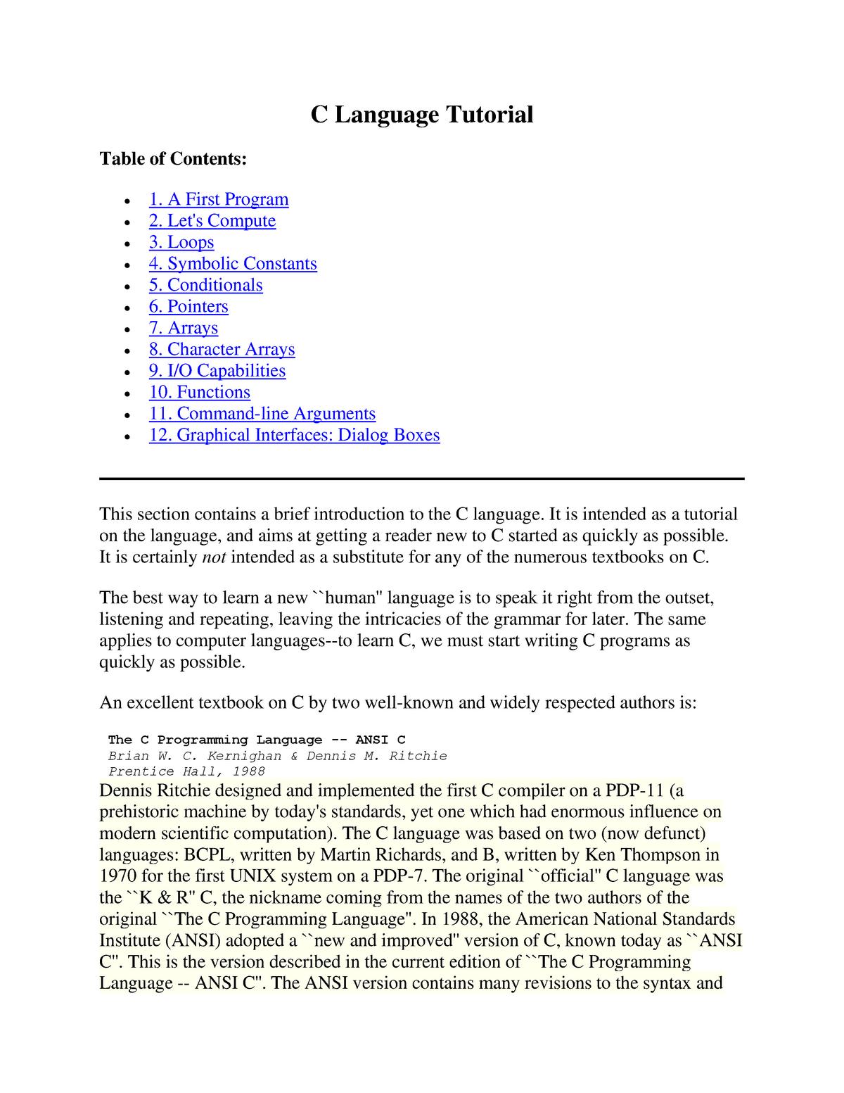 The C Programming Language - StuDocu Summary Library - StuDocu