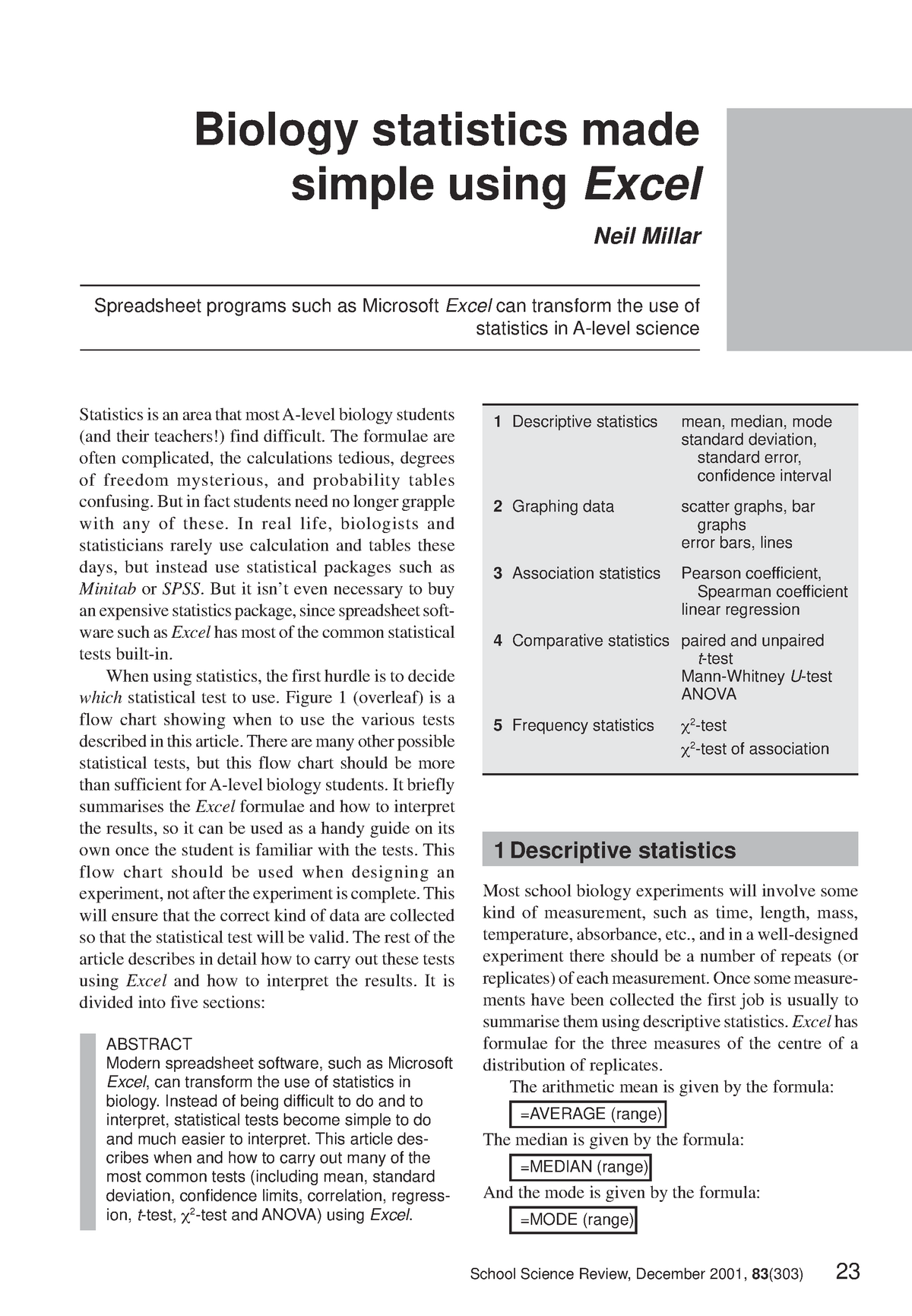 Millar 2001 Statistics Using Excel - BIOSC 101: Frontiers In Biol I