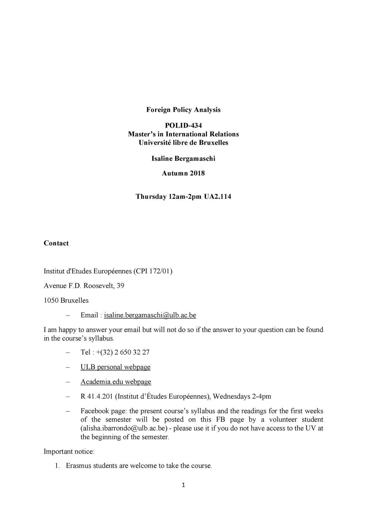 Bergamaschi FPA Syllabus 2018-9 PDF - POLI-D434 - ULB - StuDocu on