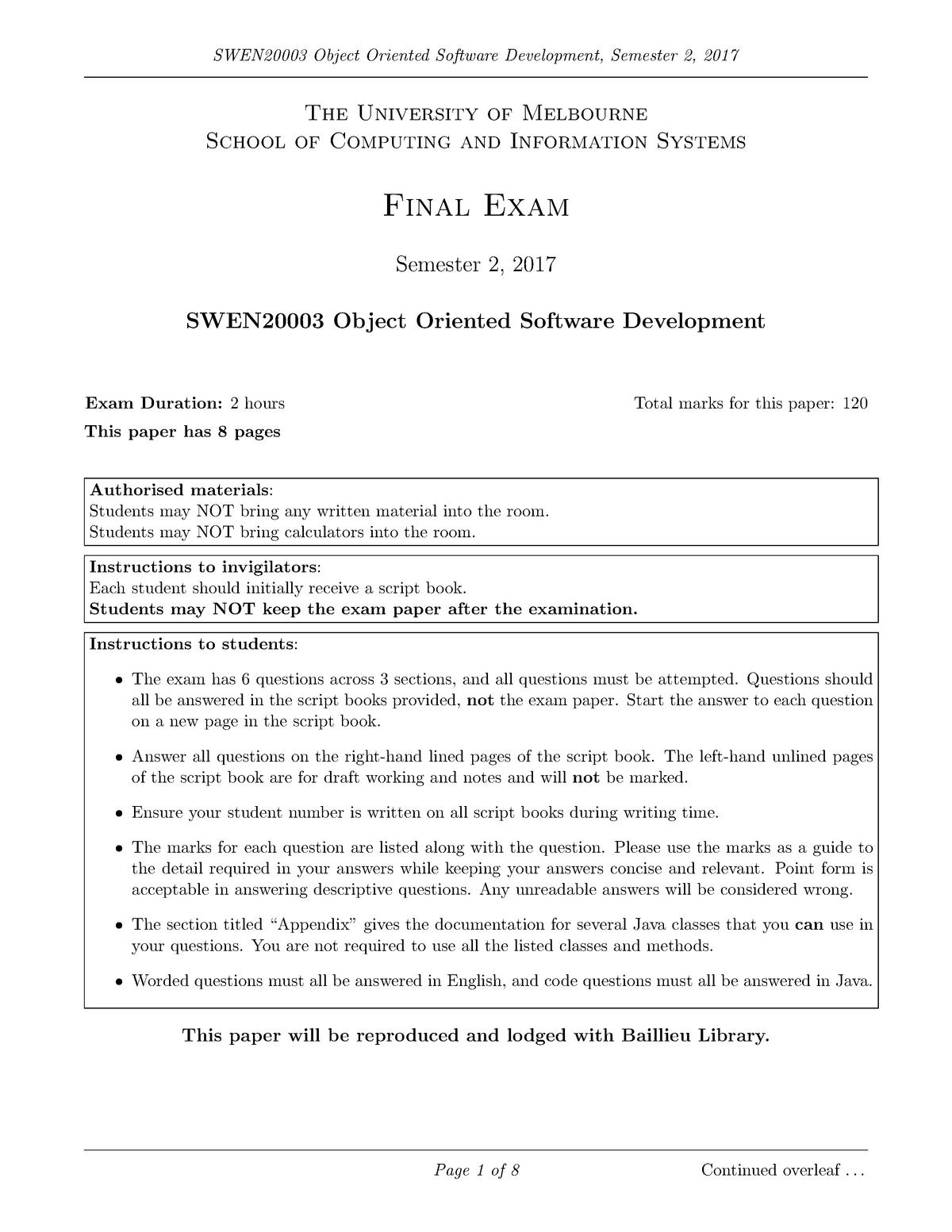 Exam 2017 - SWEN20003: Object-Oriented Software Development