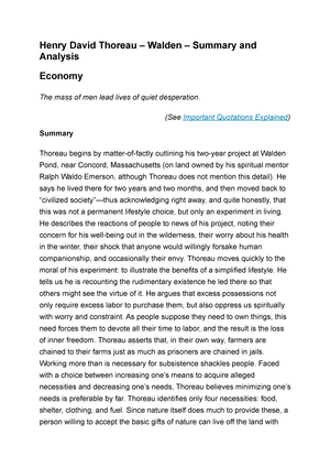 henry david thoreau walden analysis and summary economy  henry david thoreau walden analysis and summary economy american literature xx