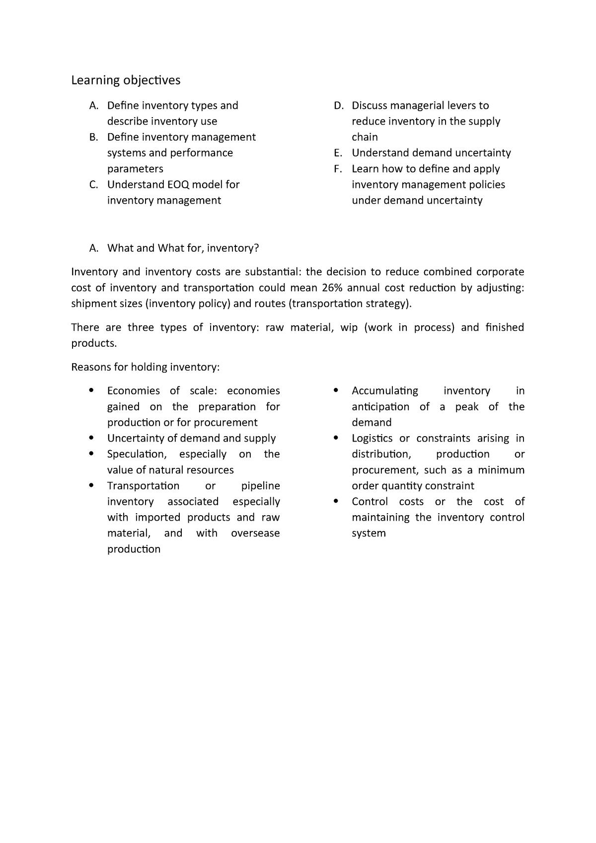 Session 2 et 3 - Notes de cours 2,3 - 903060: Supply Chain - StuDocu