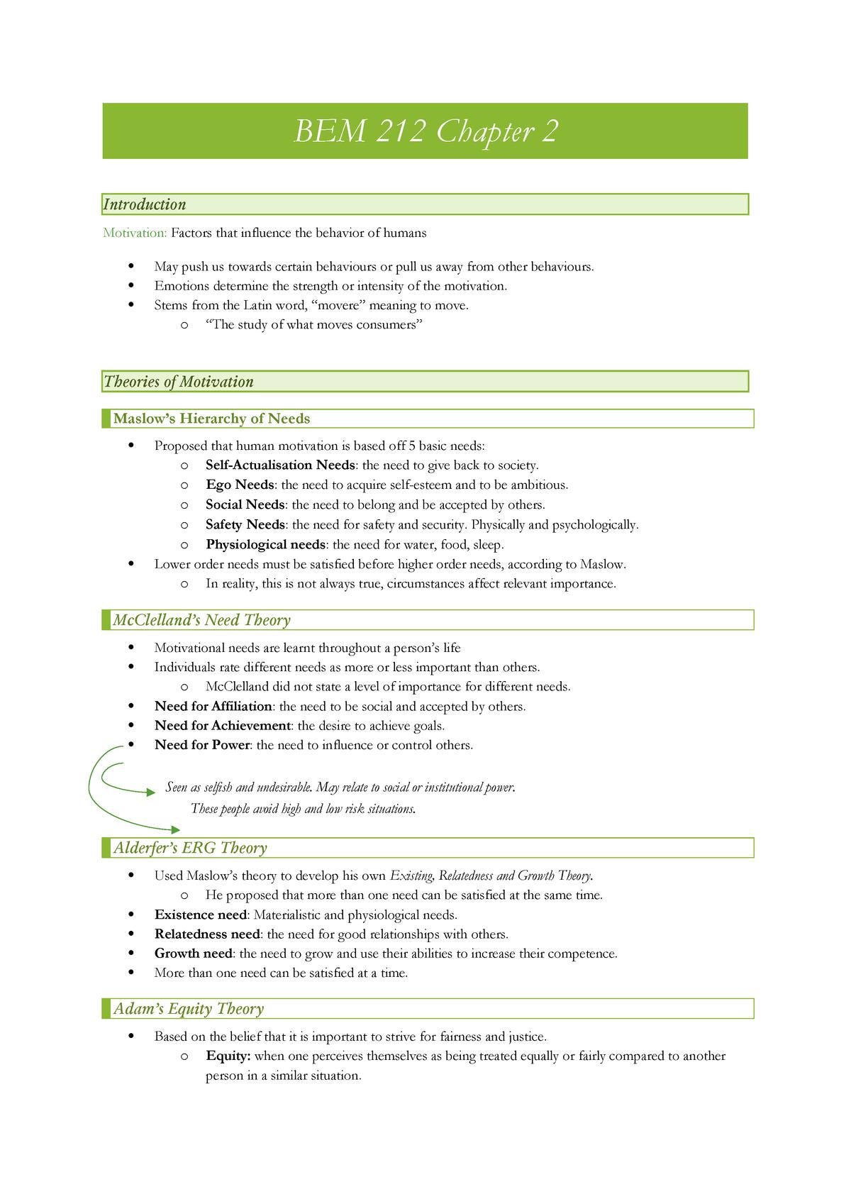 BEM 212 Chapter 2 - Summary Consumer Behaviour - BEM 212