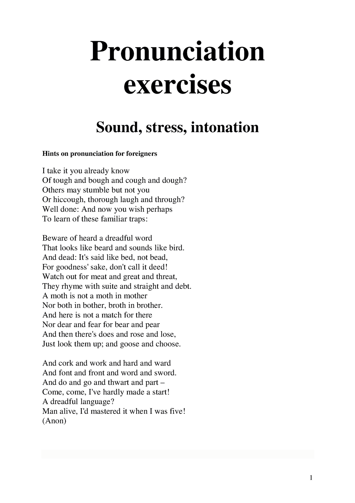 Pronunciation exercises - Phonetics Phonetics - StuDocu
