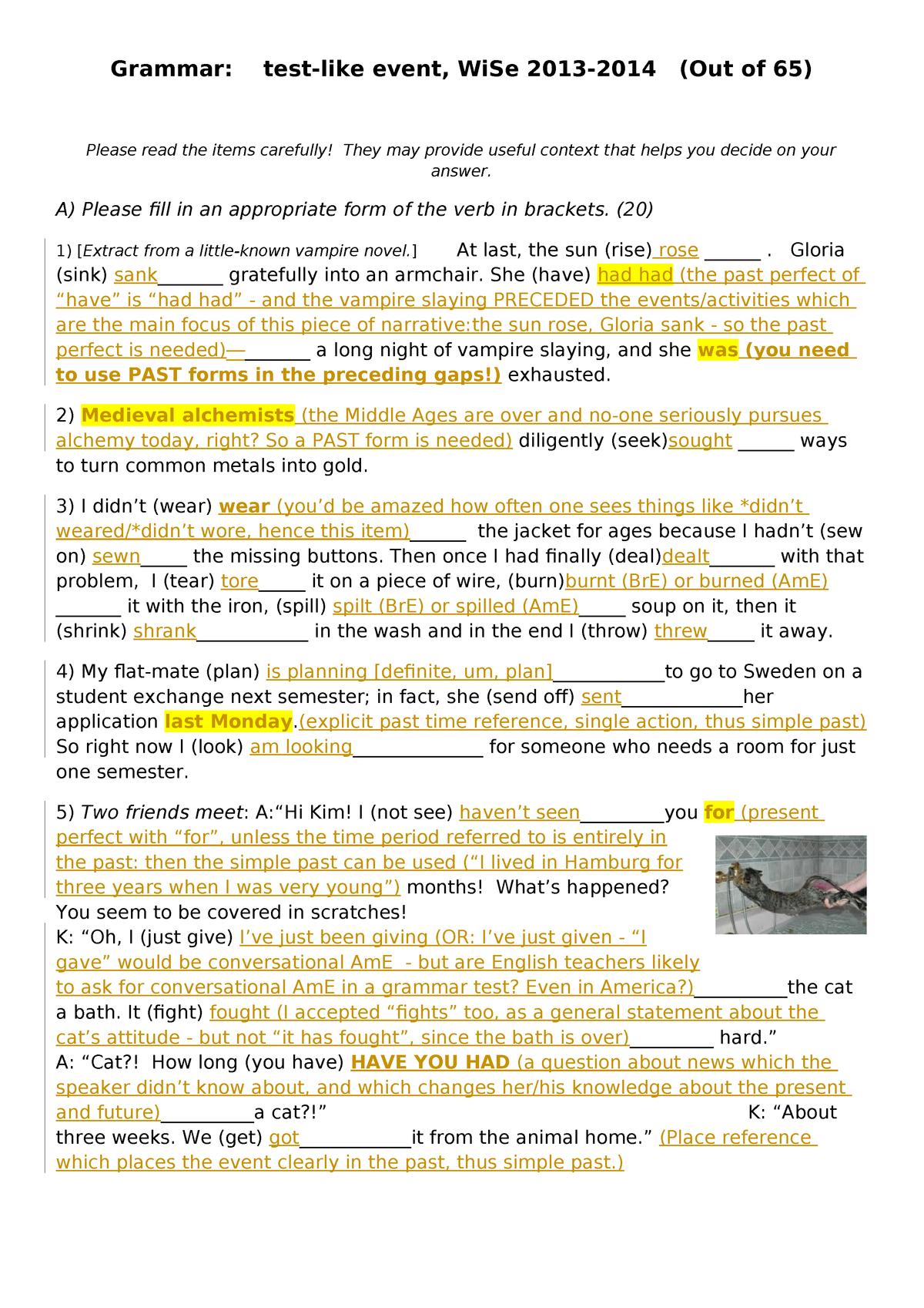 Key, Grammar Test (Proficiency Test) - 23-ANG-AngBM1: Basis
