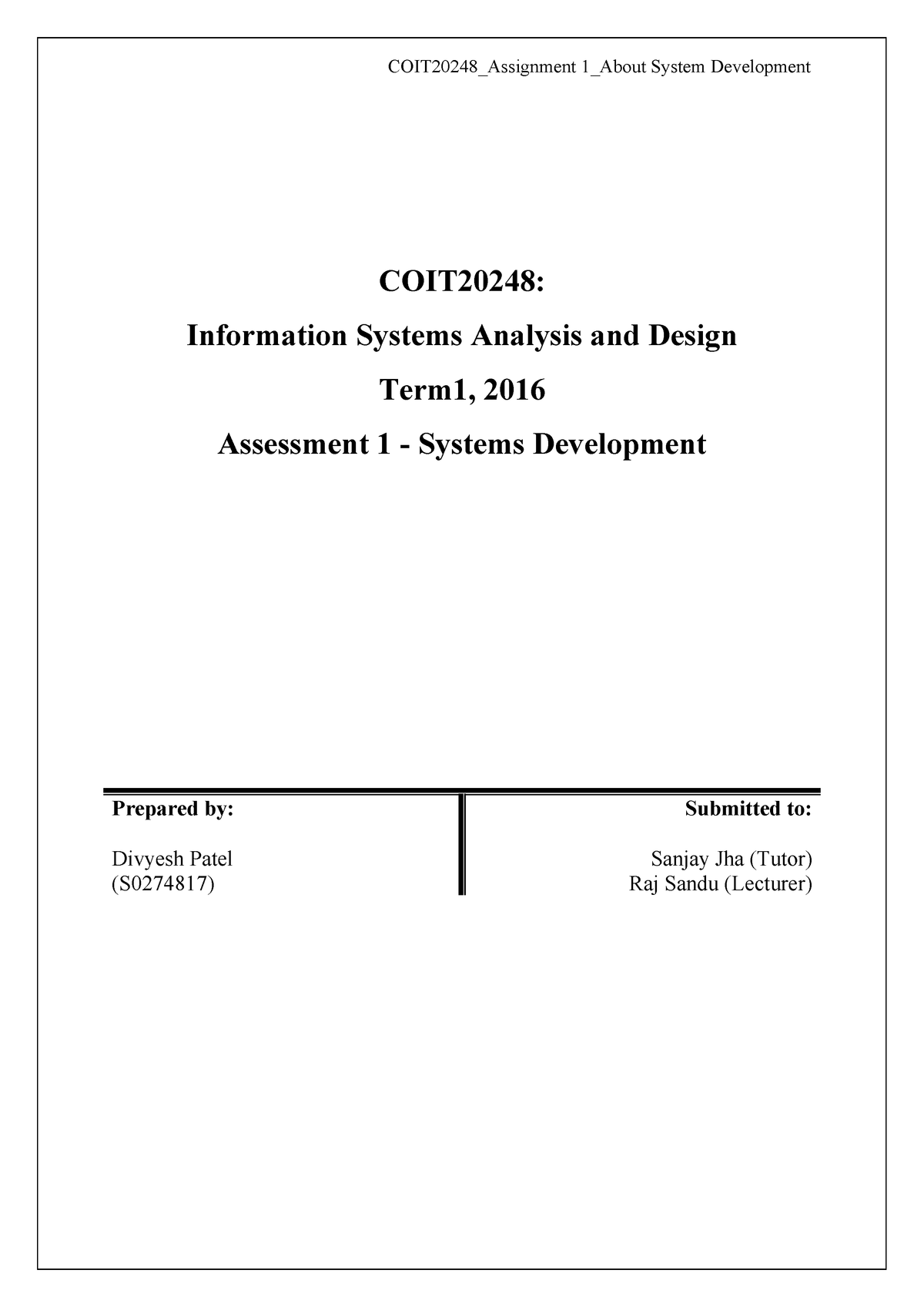 Coit20248 Assignment 1 S0274817 Cqu Studocu