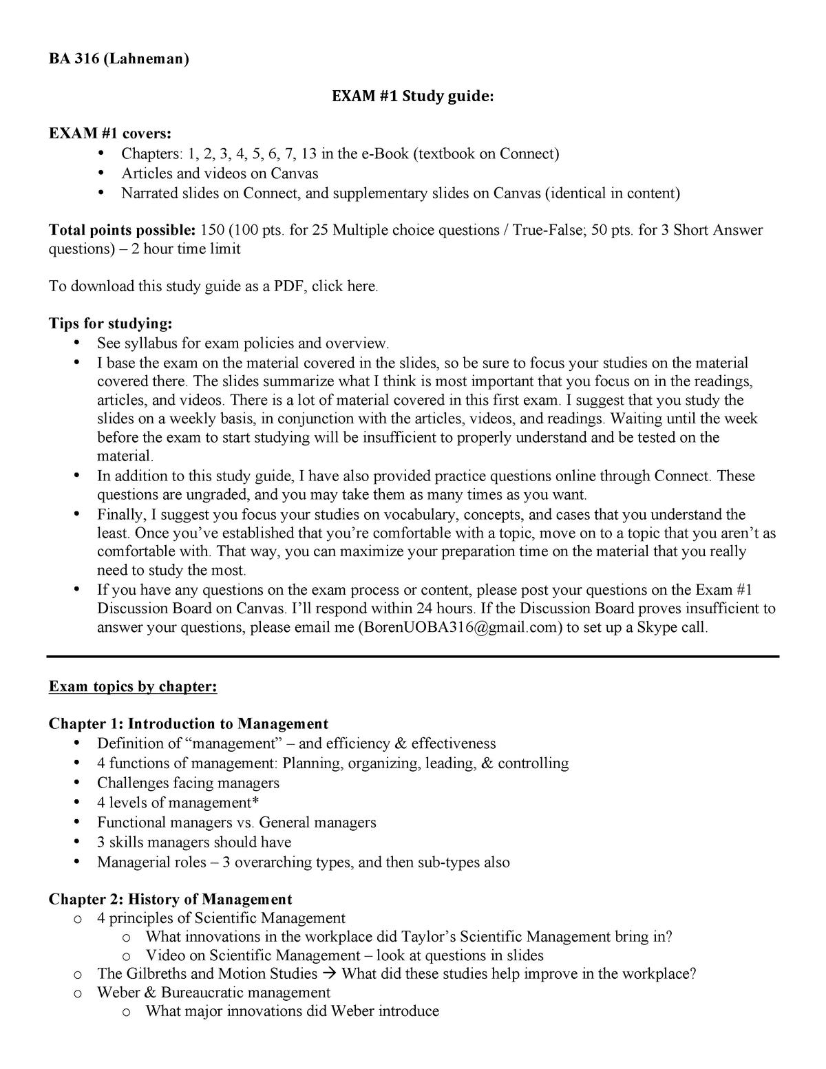 BA 316 Online - Exam #1 Study Guide - Management BA 316