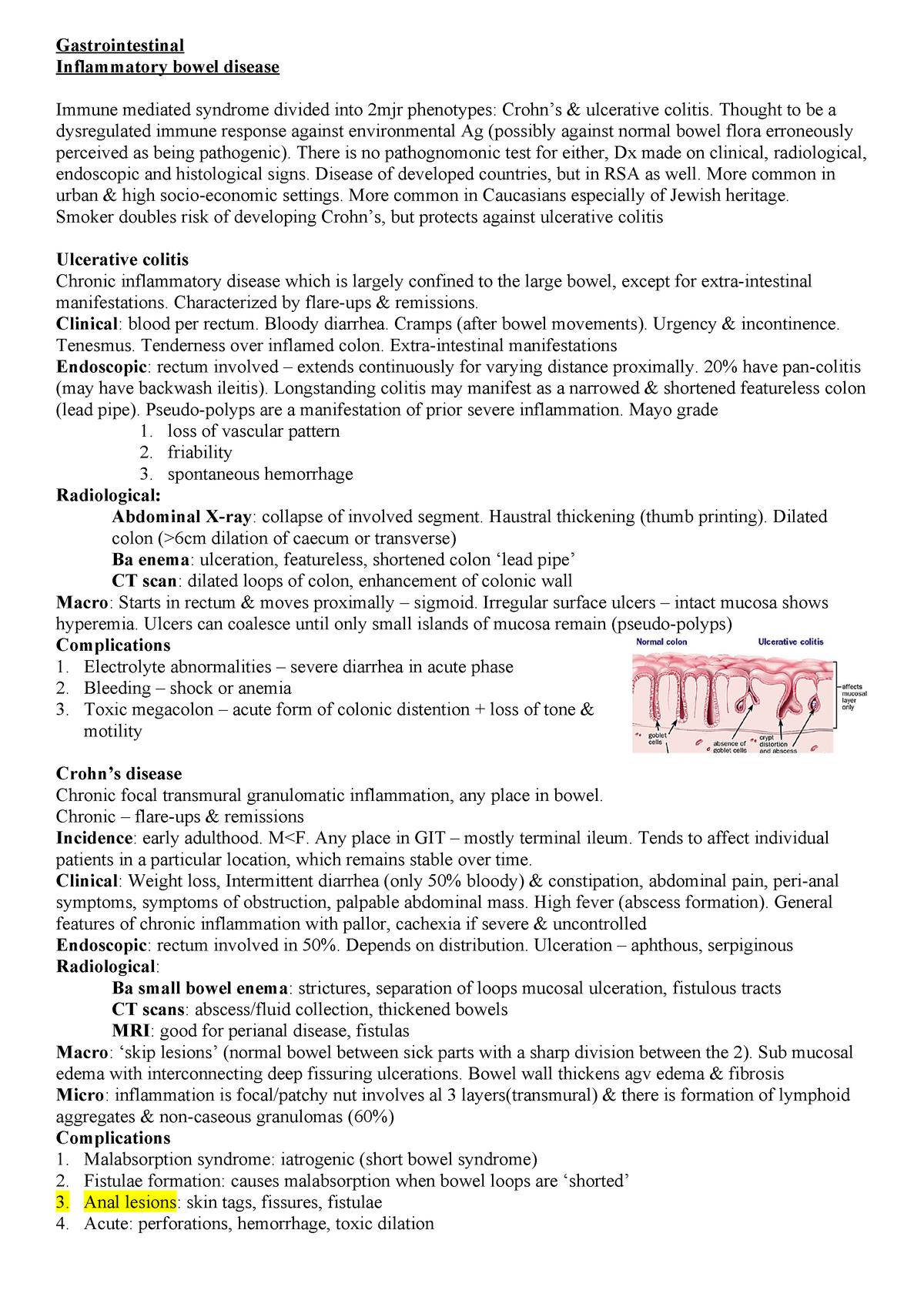 Gastroenterology - Summary Medicine - MBChB - StuDocu