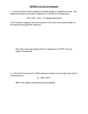 Seminar assignments - A/D and D/A Homework - M E 345W