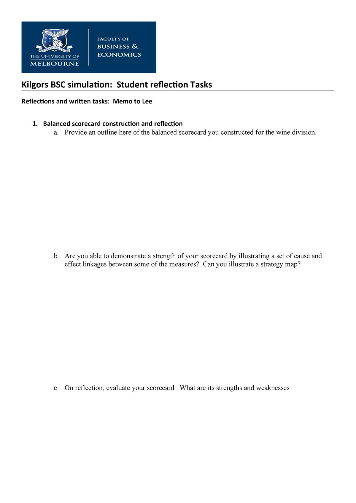 Kilgors BSC simulation student reflection tasks - ACCT30002