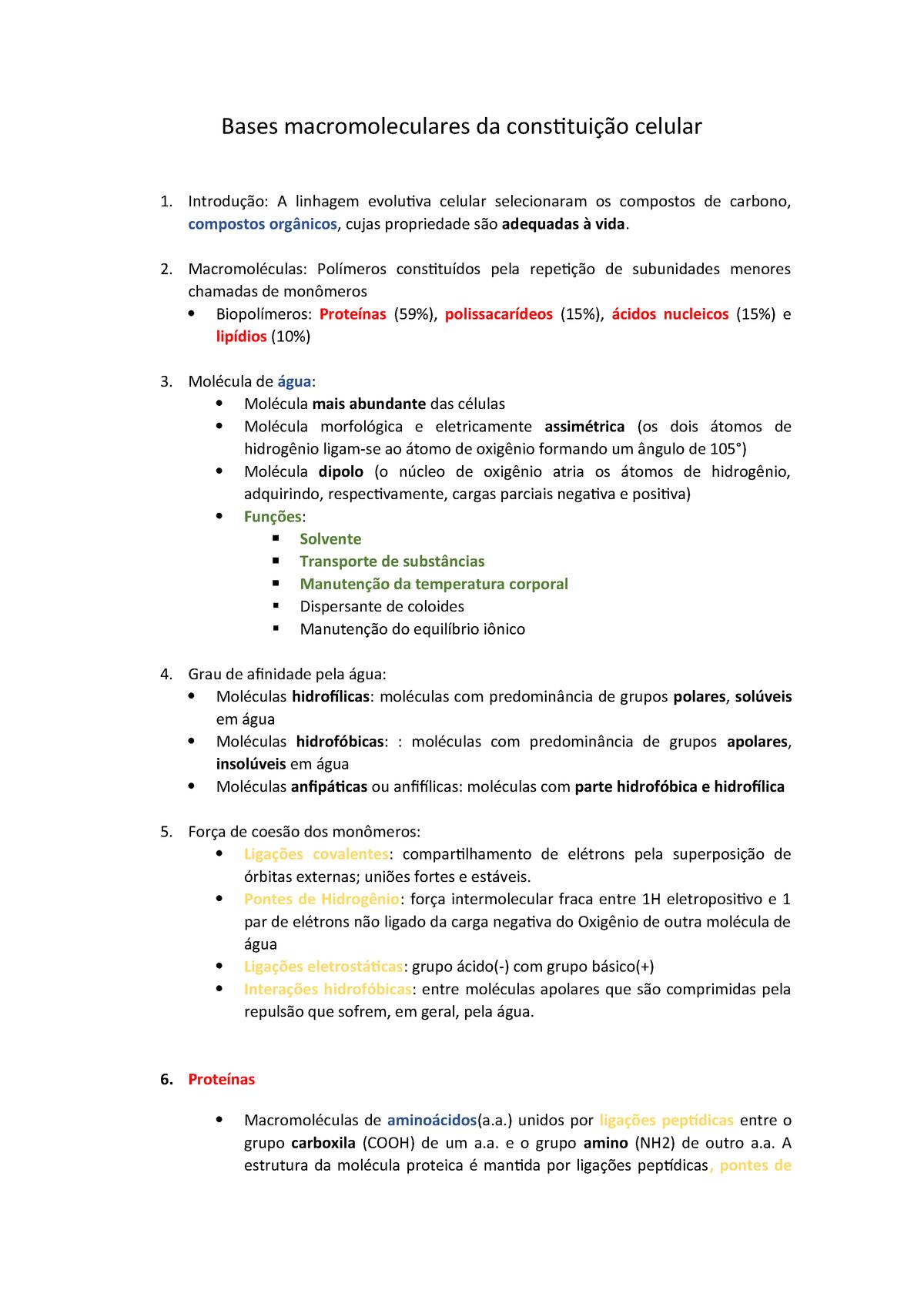 Bases Macromoleculares Da Constituição Celular Gbd001