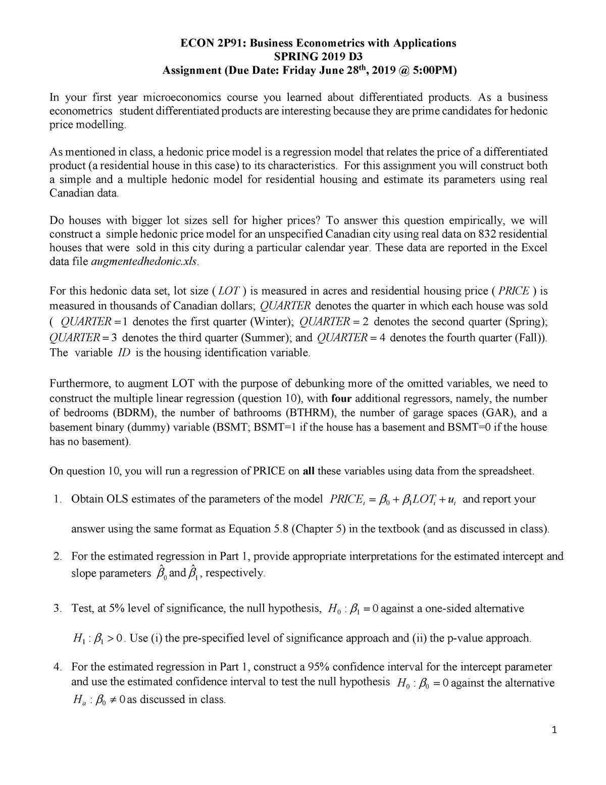 ECON2P91 SP19-Assignment - ECON 2P91: Business Econometrics with