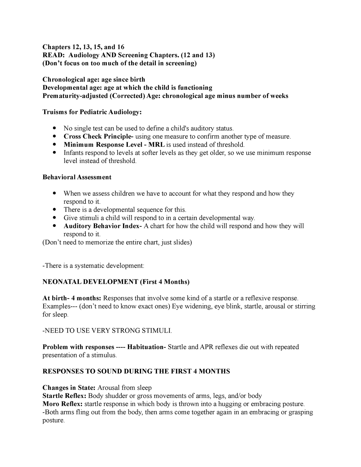 AUdiology Exam #3 - Lecture notes 12-13, 15-16 - LCD 330