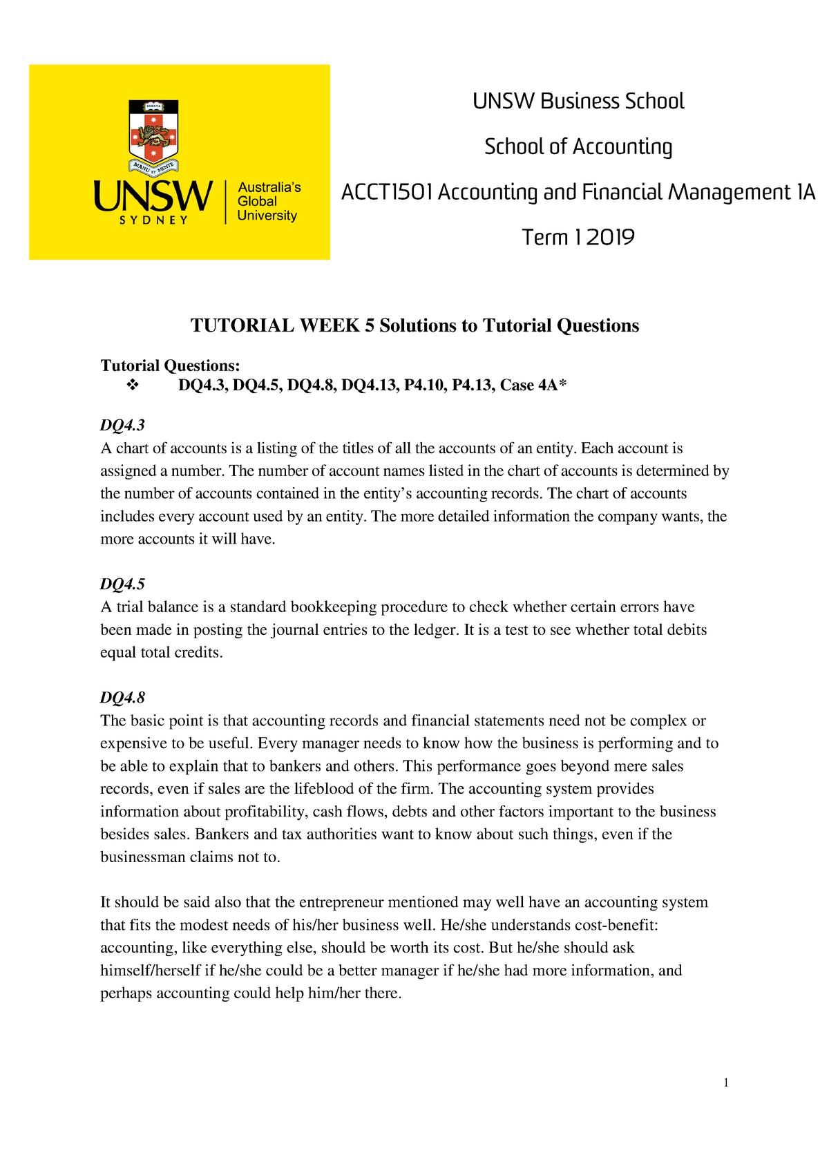 2019 T1 TQ Ans Wk5 - asdfghjk - ACCT1501: Accounting and