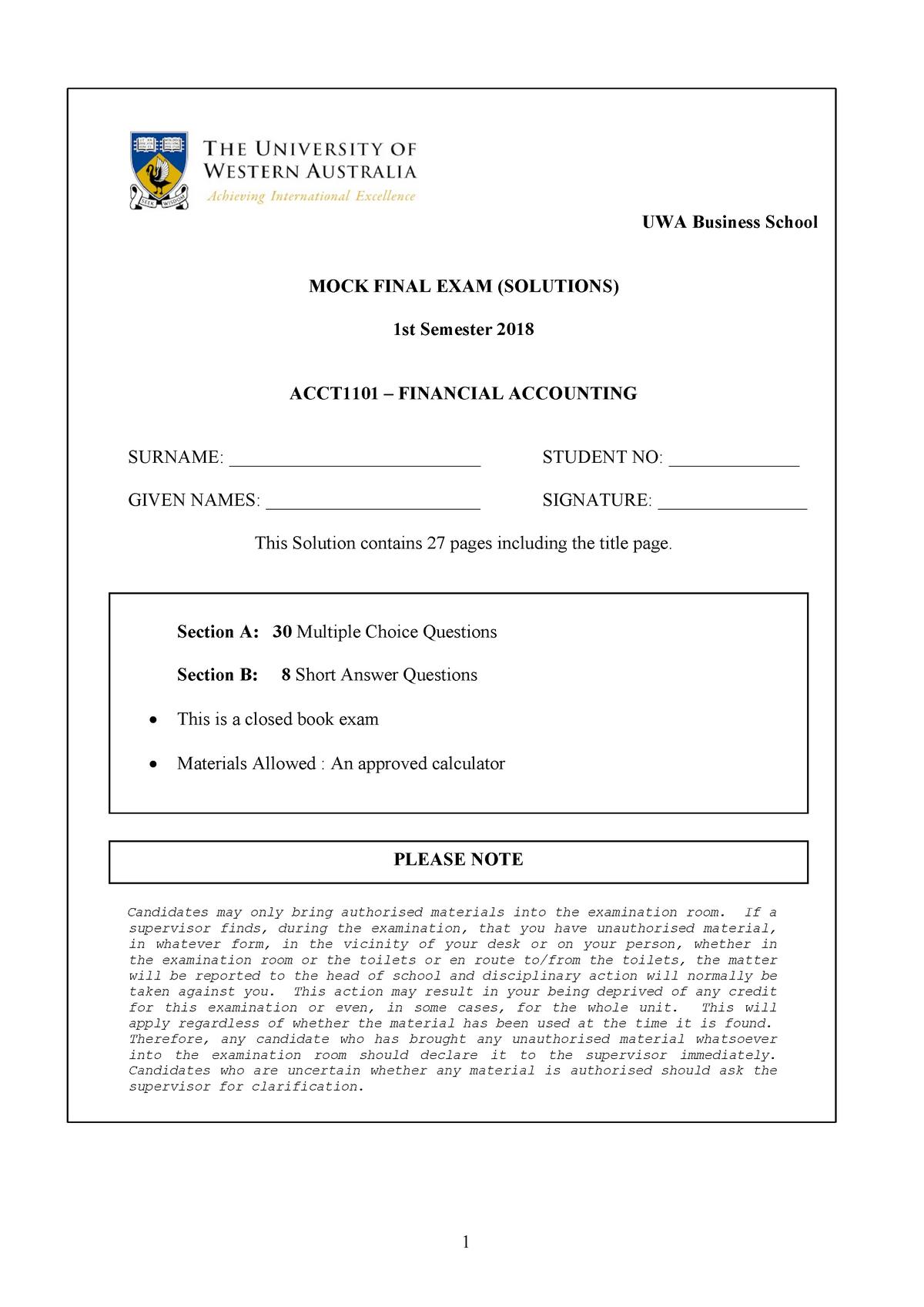Exam 2018 - ACCT1101 : Financial Accounting - StuDocu