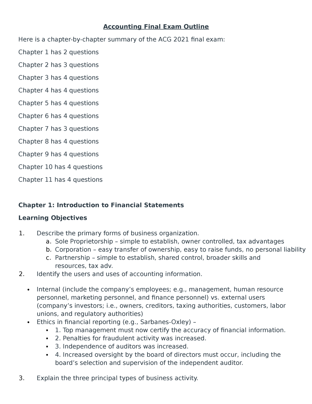 Accounting Final Exam Outline - ACG 2021: Intro Financial Accounting