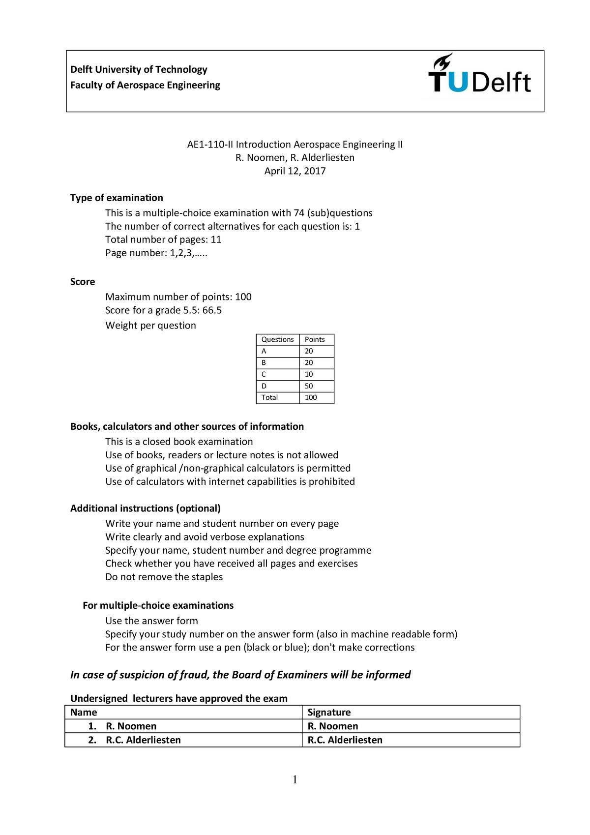 Exam 2017 - AE1110-I: Introduction to Aerospace Engineering I - StuDocu