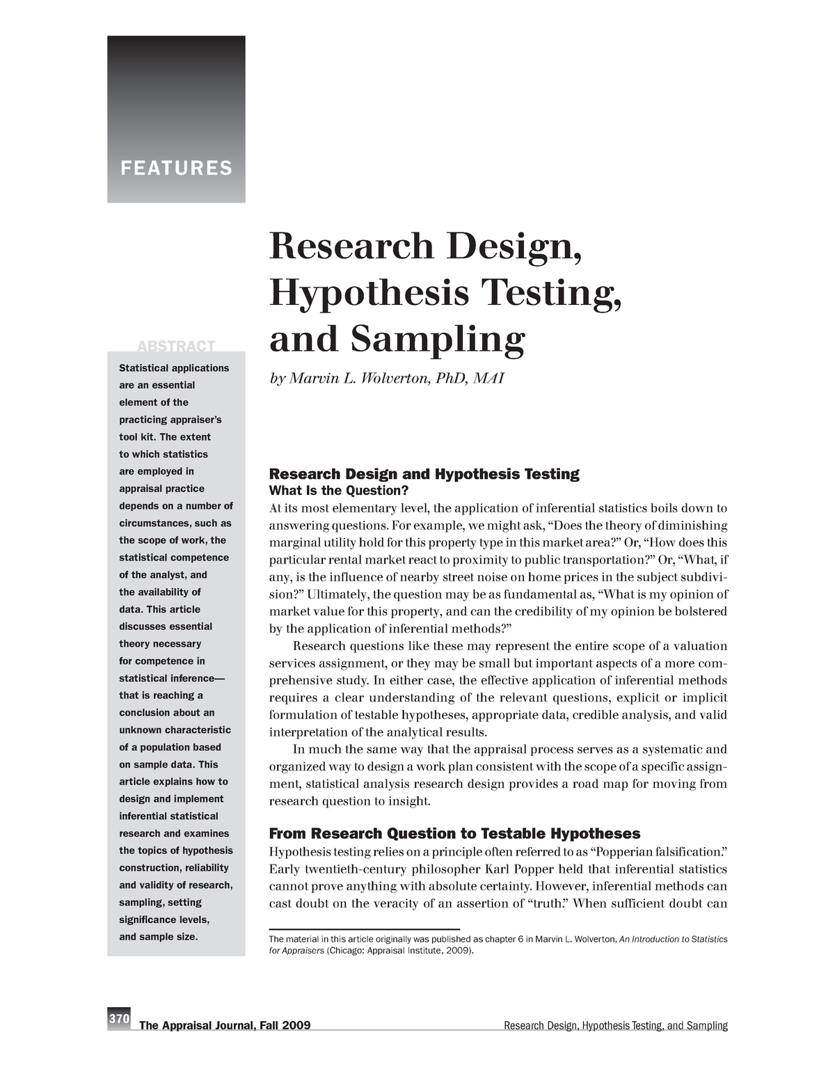 Research Design, Hypothesis Testing, and Sampling - MLIE-102