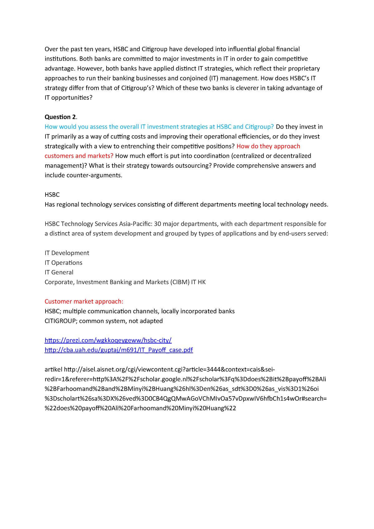 Information Systems Case 1 - EBB632A05 - RUG - StuDocu