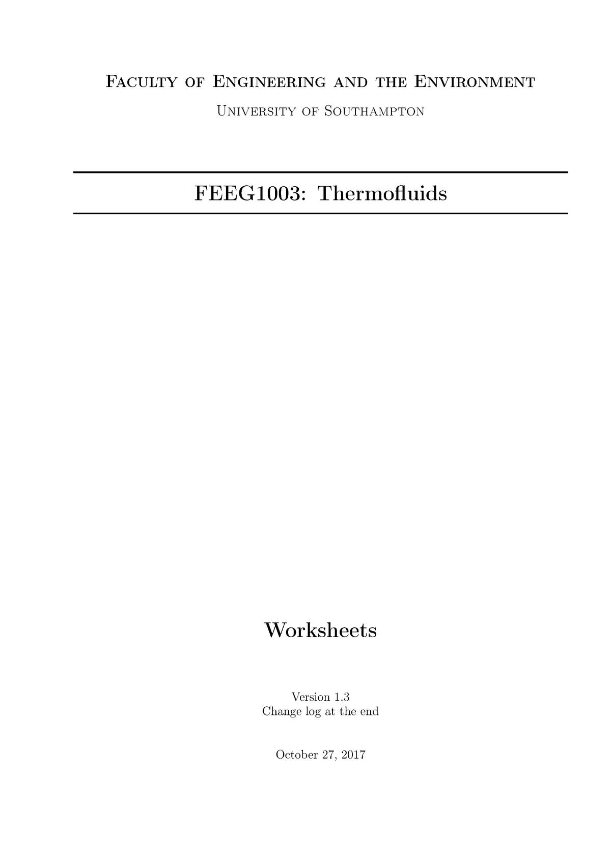 Thermofluids Worksheets 2017 - FEEG1003: Thermofluids - StuDocu