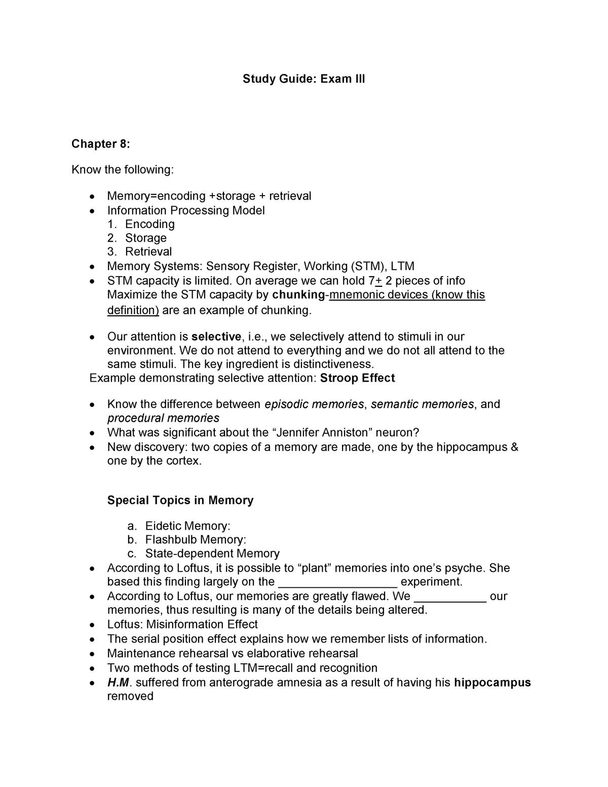 Study Exam III Spring 18 - PSYC 1101 - StuDocu