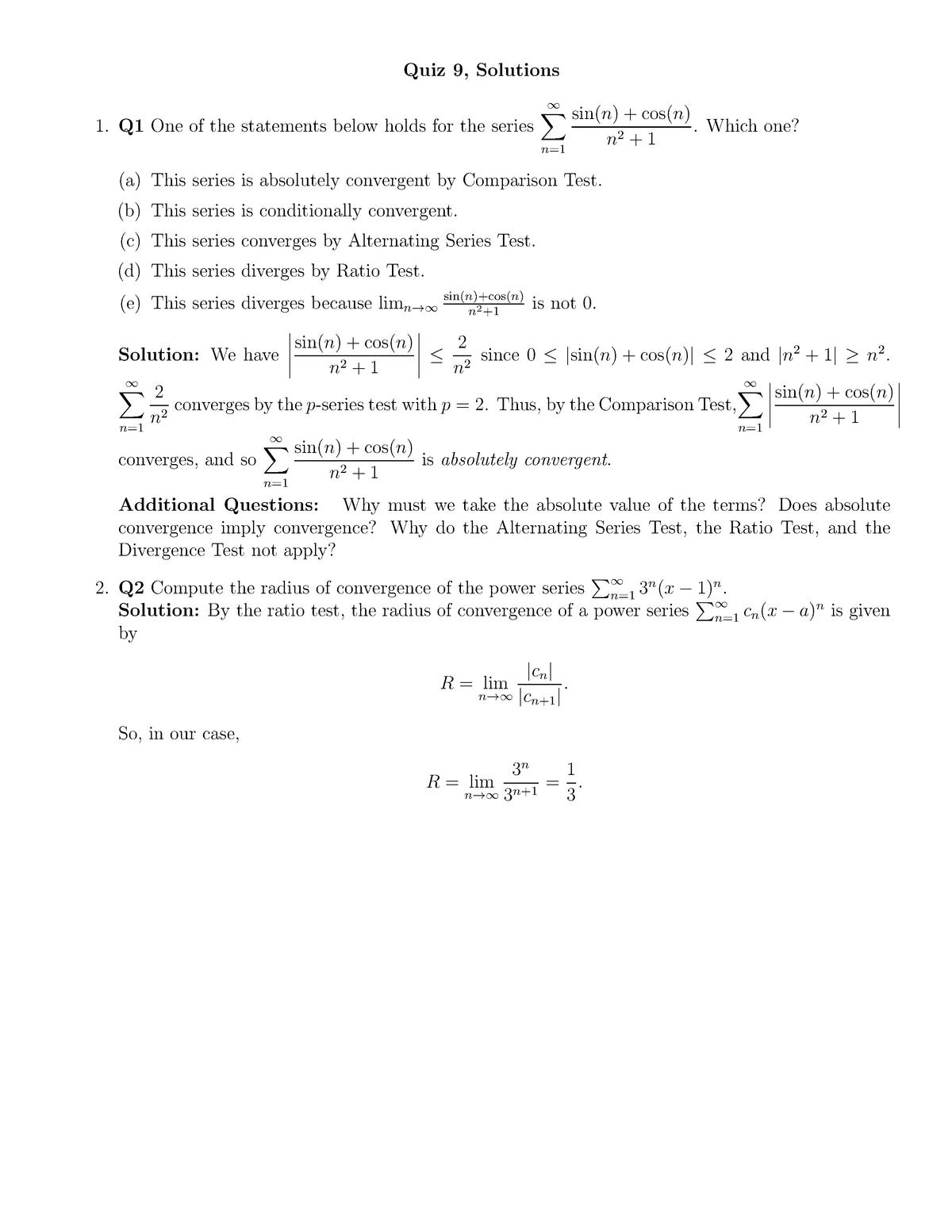 Quiz 9 solutions - - MATH 10560 Calculus II - StuDocu