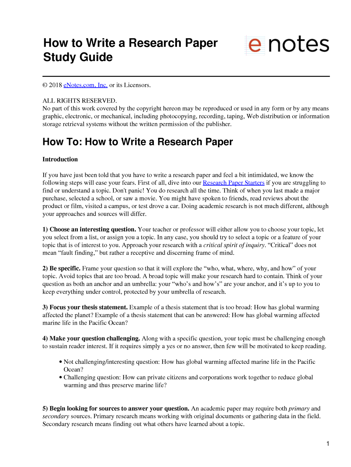 Questions To Be Answered In A Research Paper
