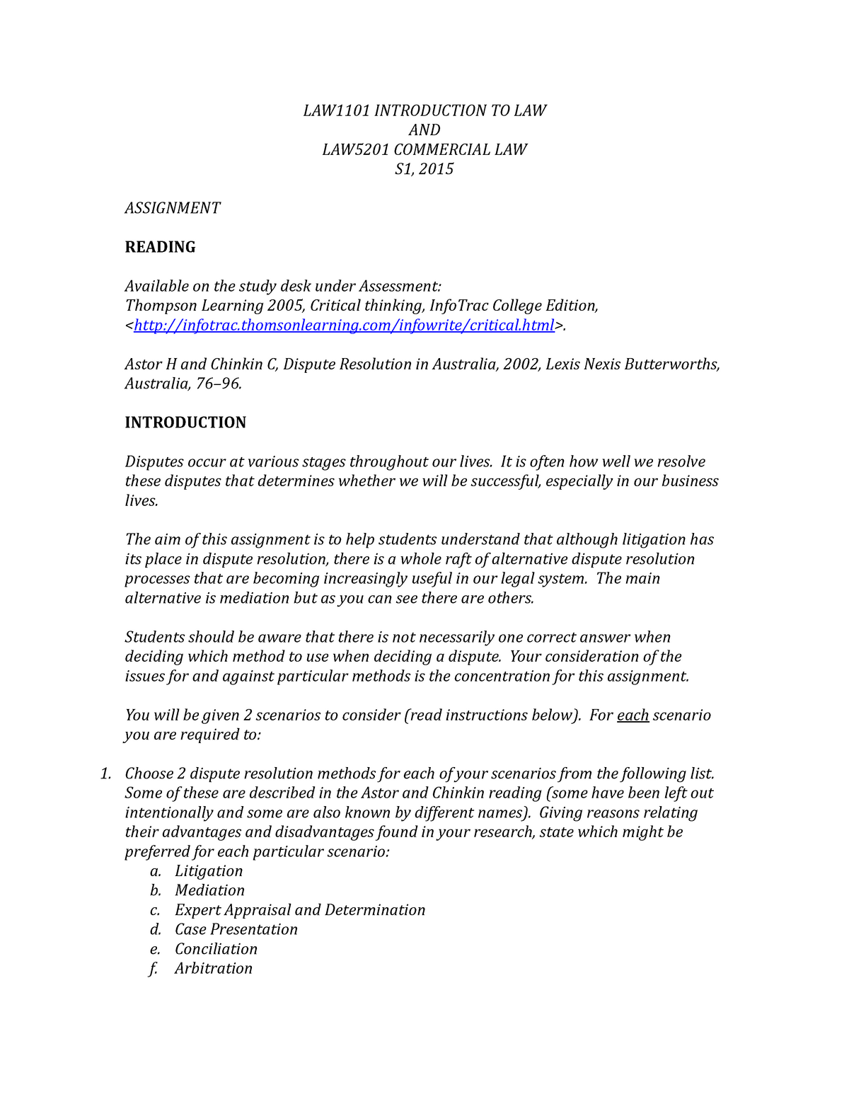 LAW1101 Assignment 2015 - Introduction to Law - USQ - StuDocu