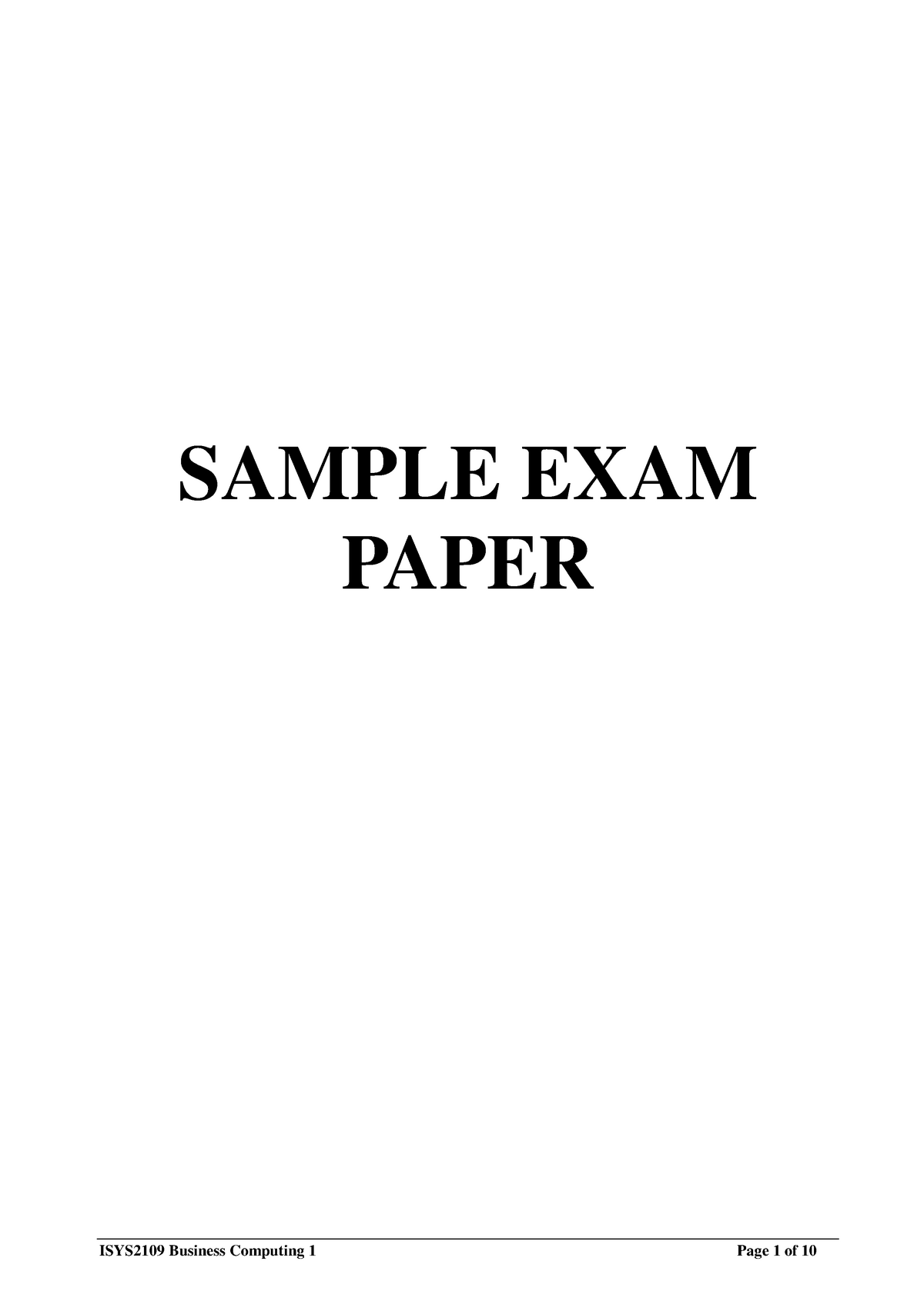 ISYS2109-Exam sample with answers-used in 2012 A-updated