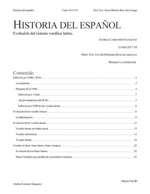 Evolucion Del Sistema Vocalico Latino 802122 Historia Del Espanol